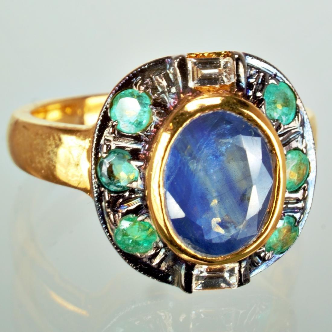 Sapphire Emerald and Diamond Ring sz 7