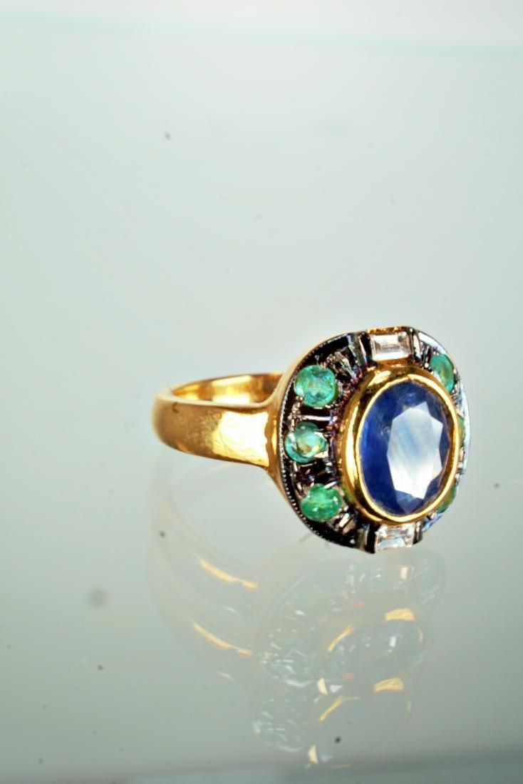 Sapphire Emerald and Diamond Ring sz 7 - 2