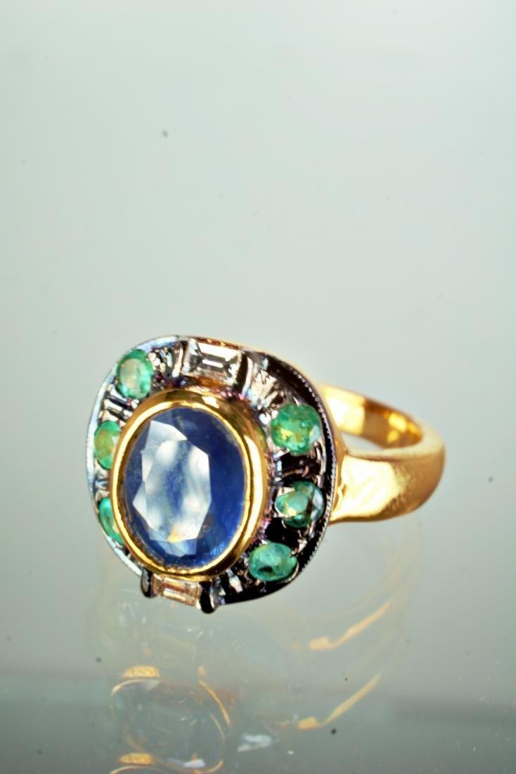Sapphire Emerald and Diamond Ring sz 7 - 3