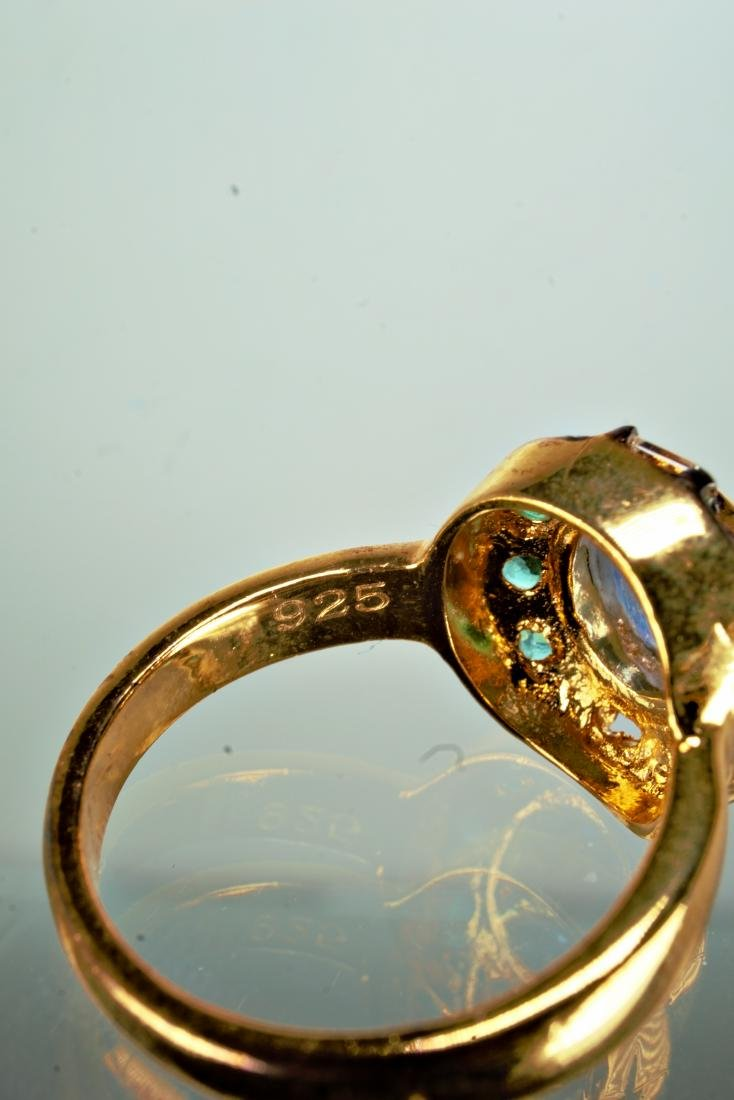 Sapphire Emerald and Diamond Ring sz 7 - 4