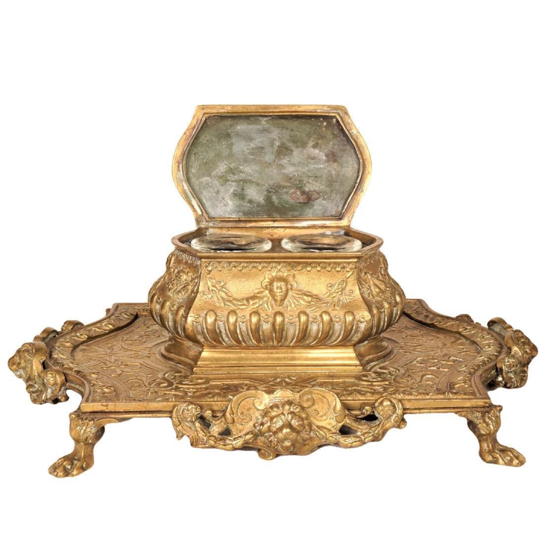 Louis XV Style Gilt Bronze Inkwell - 3