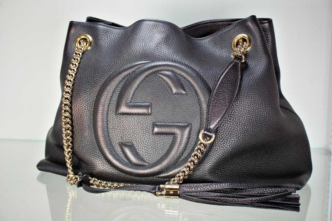 22ef554adf6253 GUCCI Soho Leather Shoulder Bag Nero