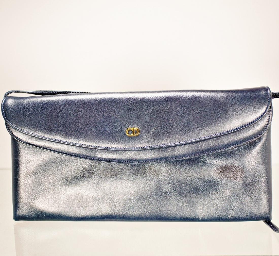Christian Dior Navy Leather Bag