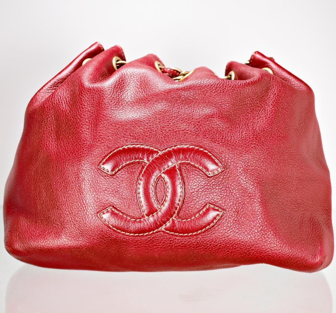 Ox Blood Chanel Leather Cinch Bag