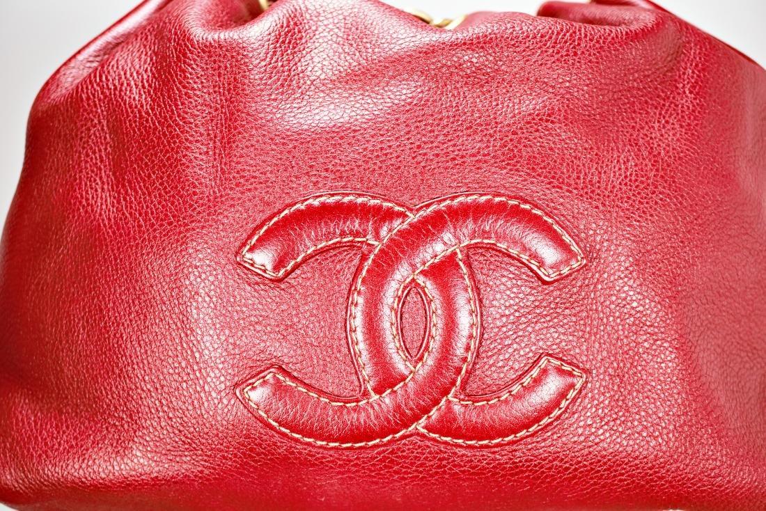 Ox Blood Chanel Leather Cinch Bag - 2