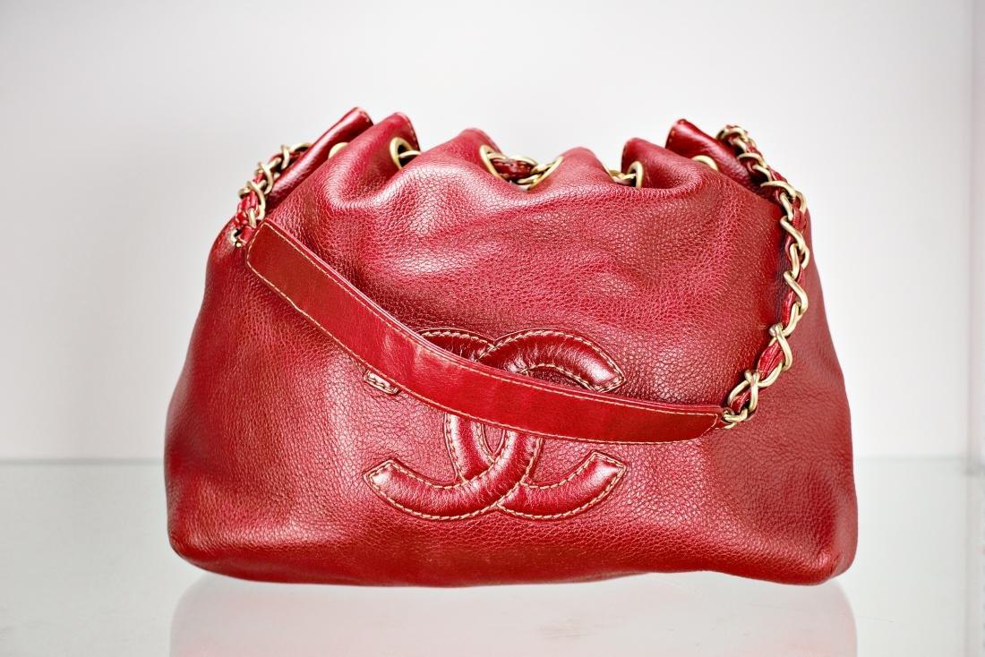 Ox Blood Chanel Leather Cinch Bag - 3