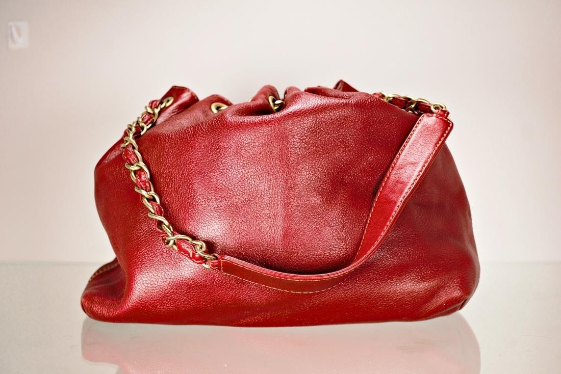 Ox Blood Chanel Leather Cinch Bag - 5