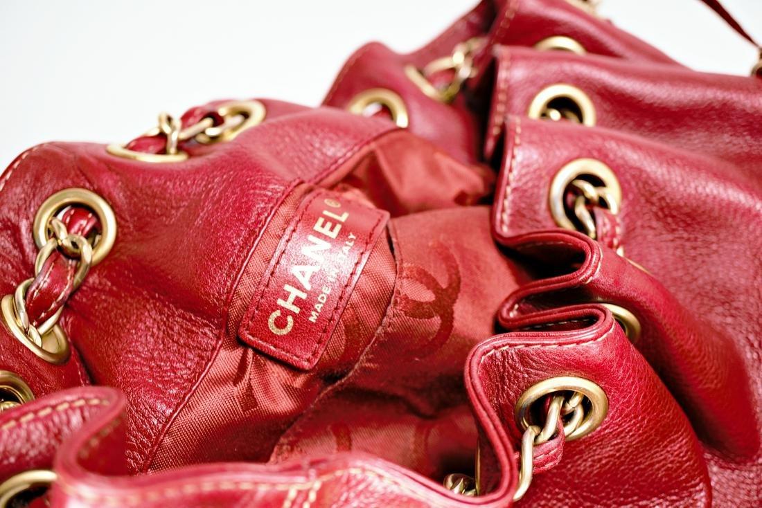 Ox Blood Chanel Leather Cinch Bag - 6