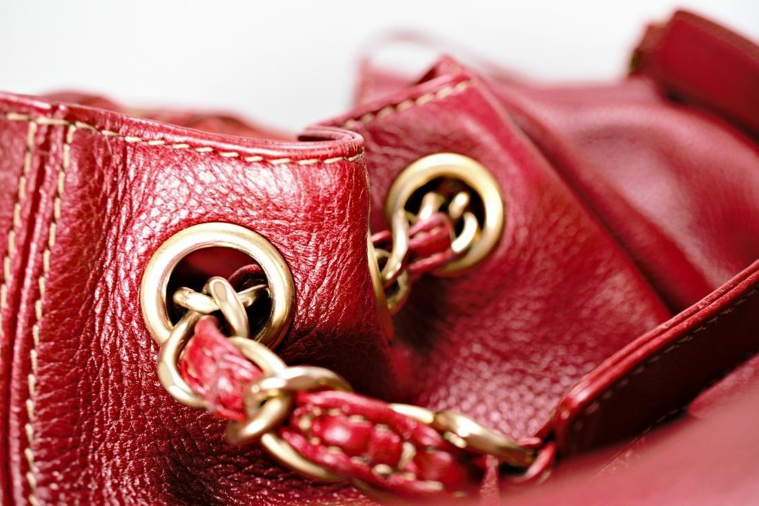 Ox Blood Chanel Leather Cinch Bag - 7