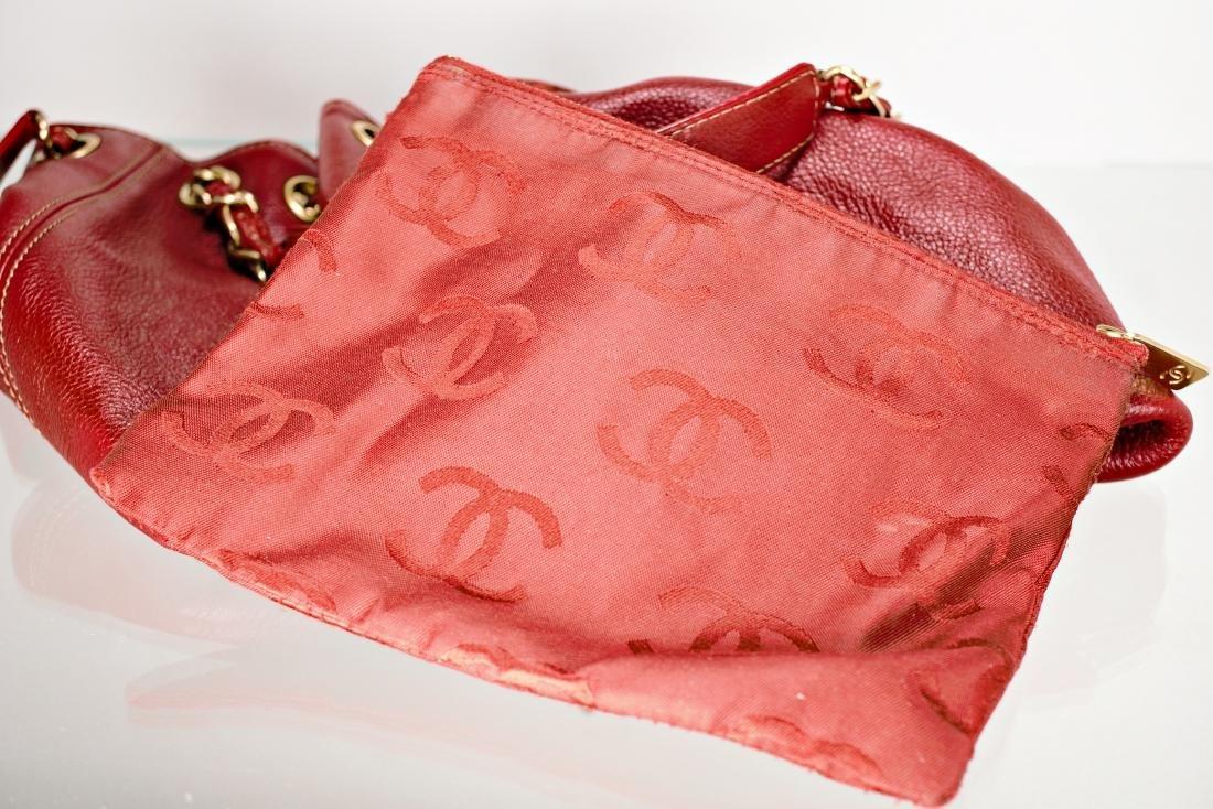 Ox Blood Chanel Leather Cinch Bag - 8