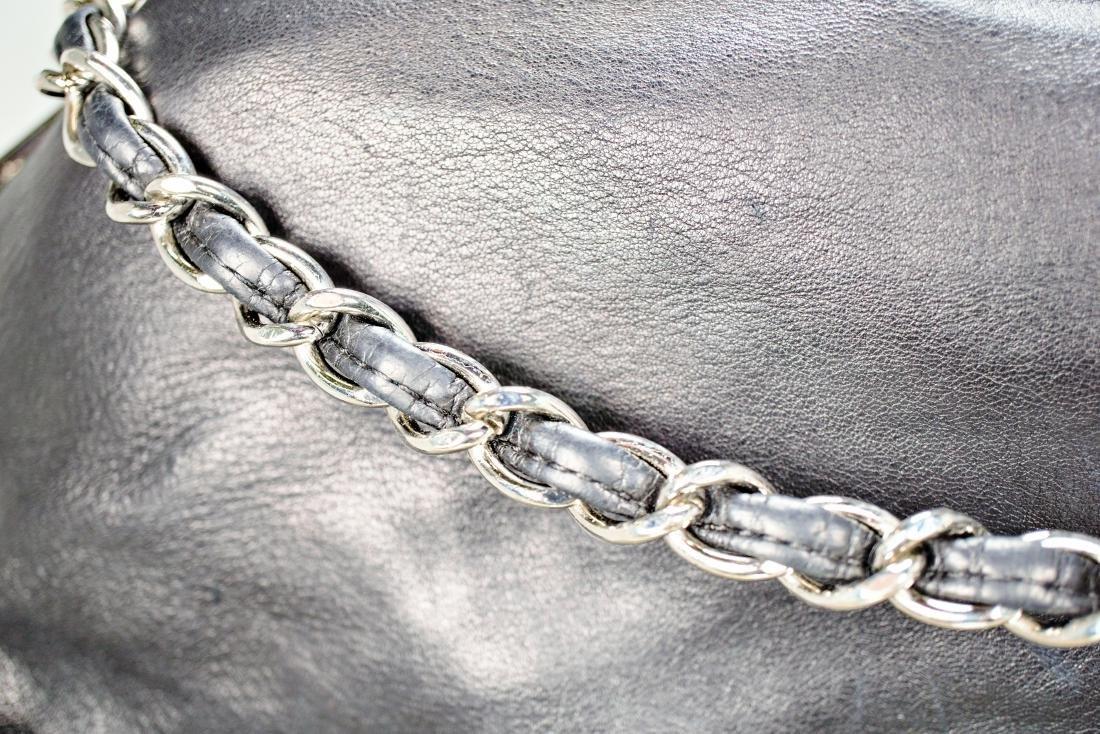 Lambskin Black Chanel Bag with Embossed Interlocking C - 2