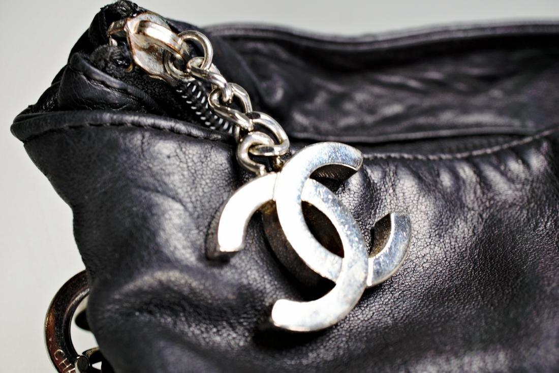 Lambskin Black Chanel Bag with Embossed Interlocking C - 3