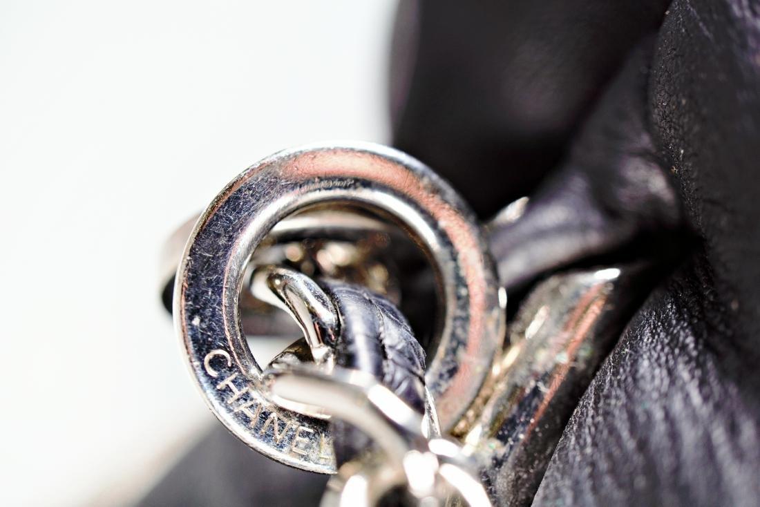 Lambskin Black Chanel Bag with Embossed Interlocking C - 4