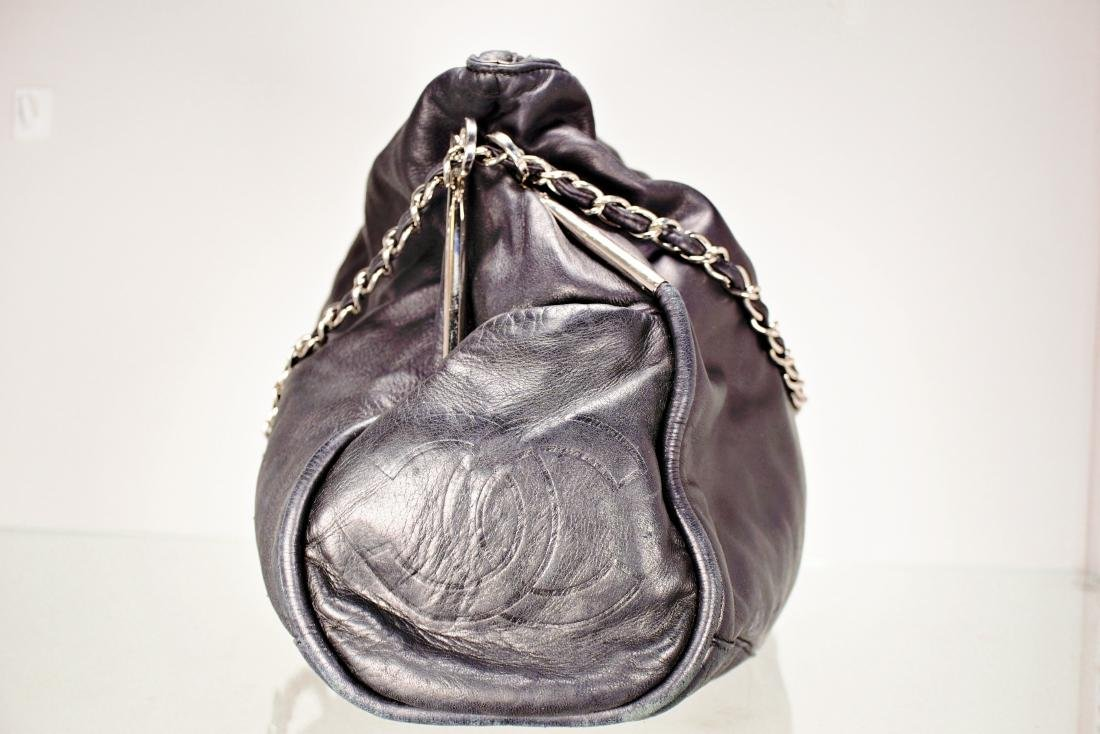 Lambskin Black Chanel Bag with Embossed Interlocking C - 5