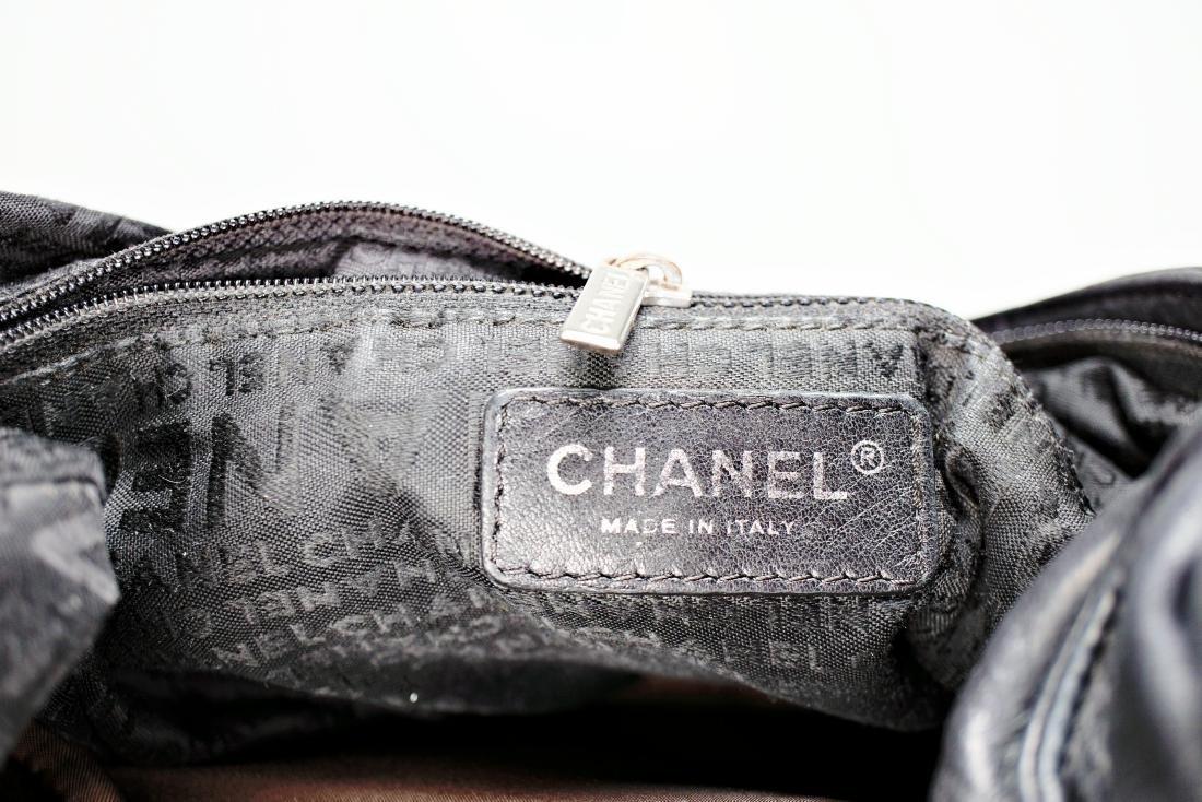 Lambskin Black Chanel Bag with Embossed Interlocking C - 7