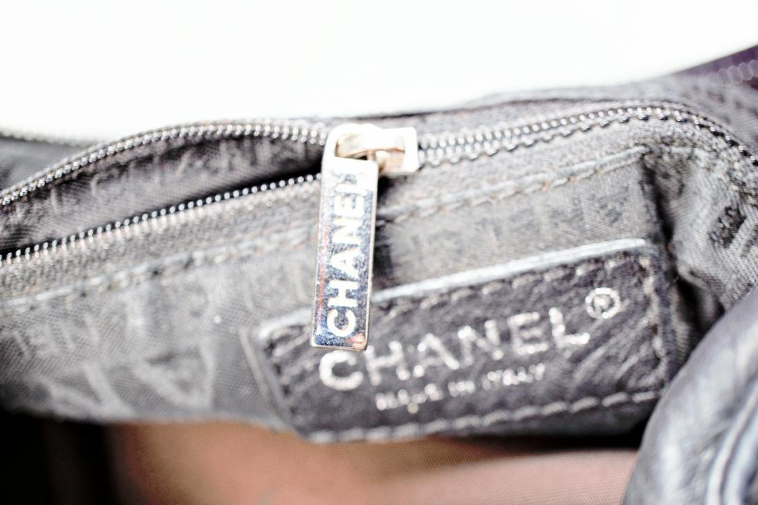 Lambskin Black Chanel Bag with Embossed Interlocking C - 8