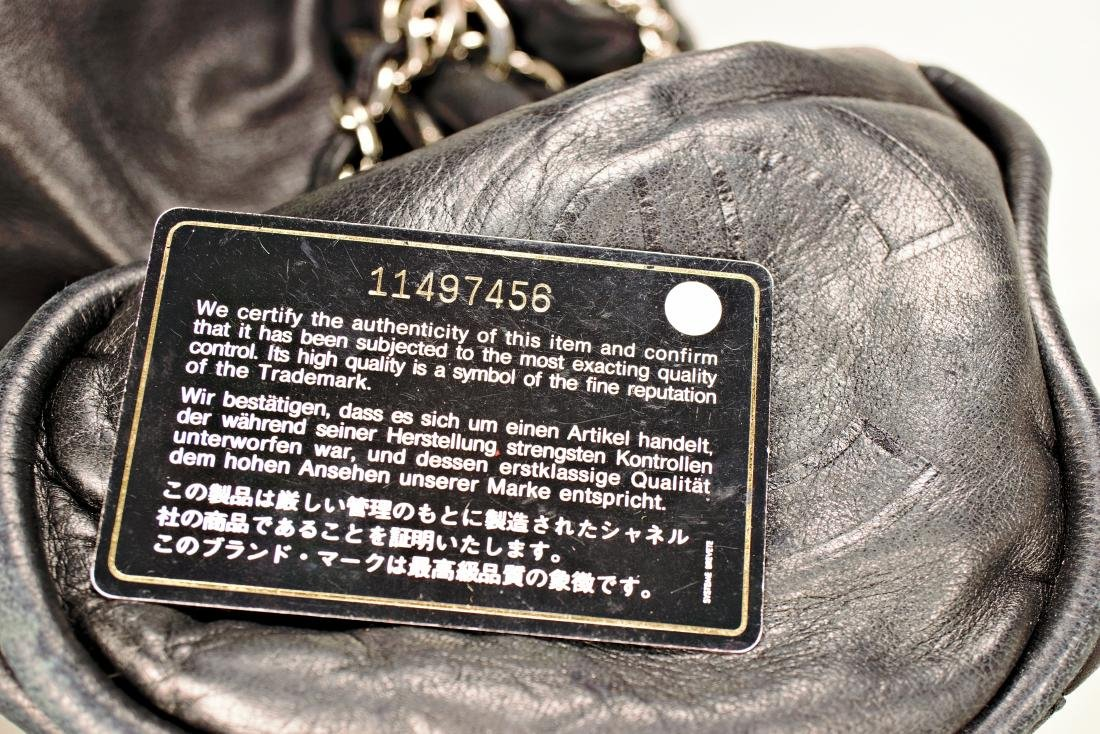 Lambskin Black Chanel Bag with Embossed Interlocking C - 9