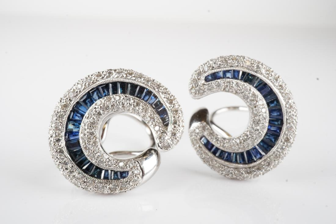 18k WG Sapphire and Diamond Earrings