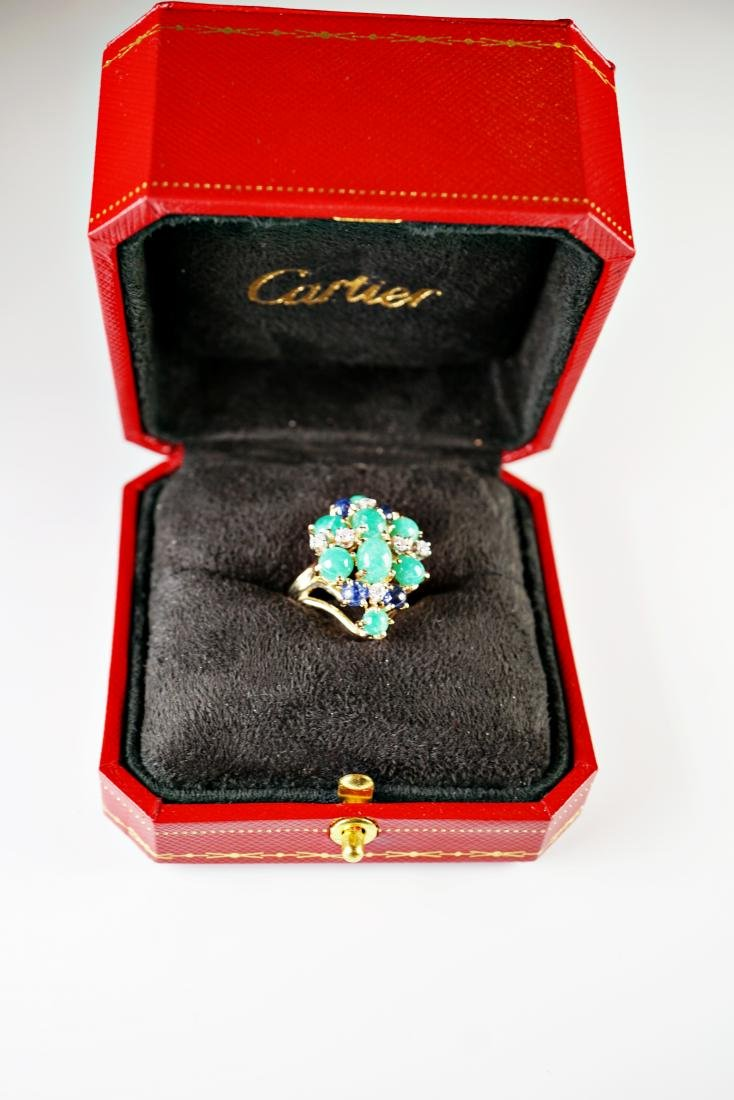 Cabochon Emerald and Diamond Ring Marked Cartier