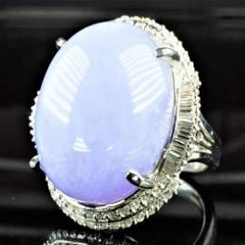 Platinum Purple Jade Ring sz8
