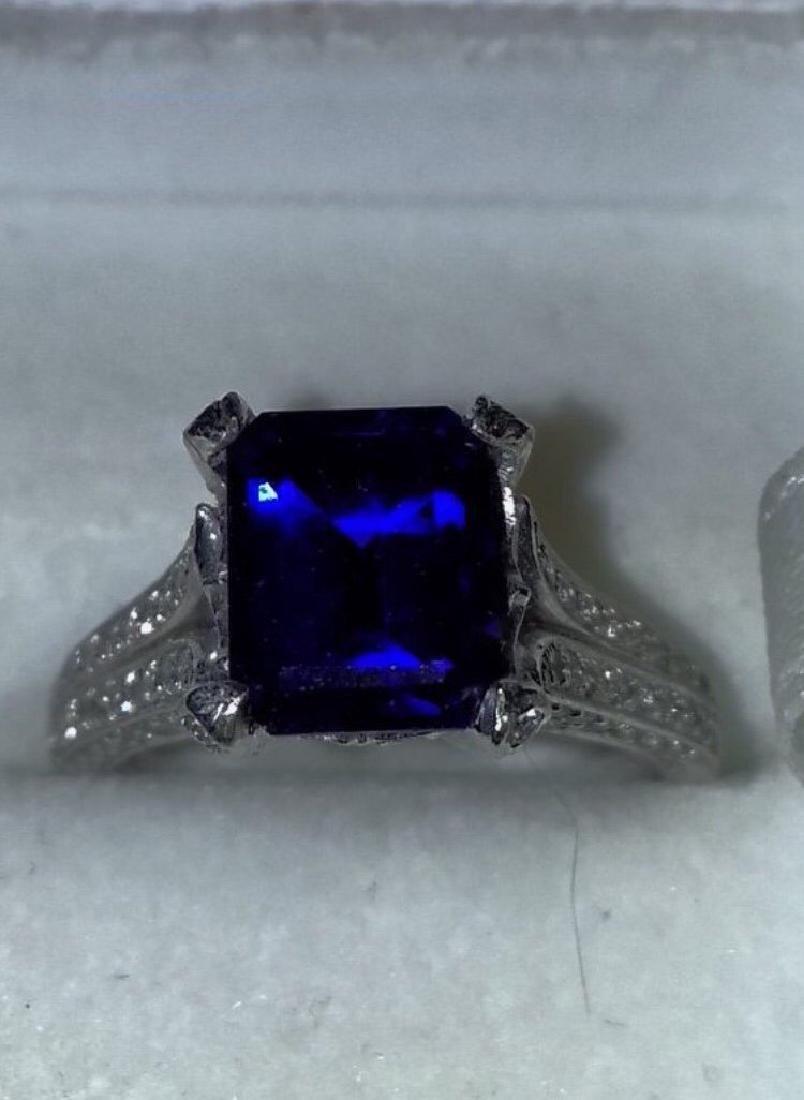 2.20 CT Sapphire Platinum and Diamond Ring sz7