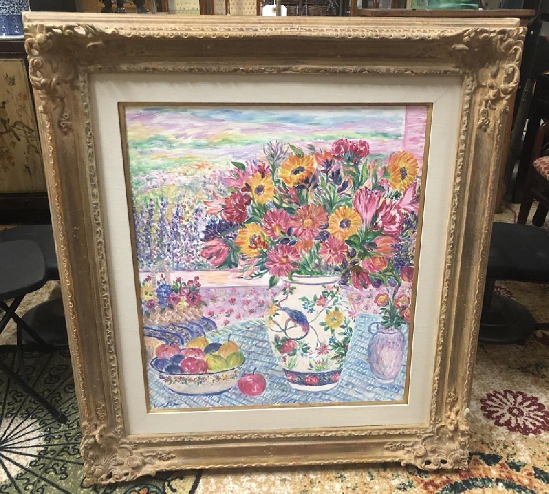 Framed Oil on Canvas Still Life, Signed