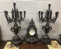 Three Piece Clock Garniture Set