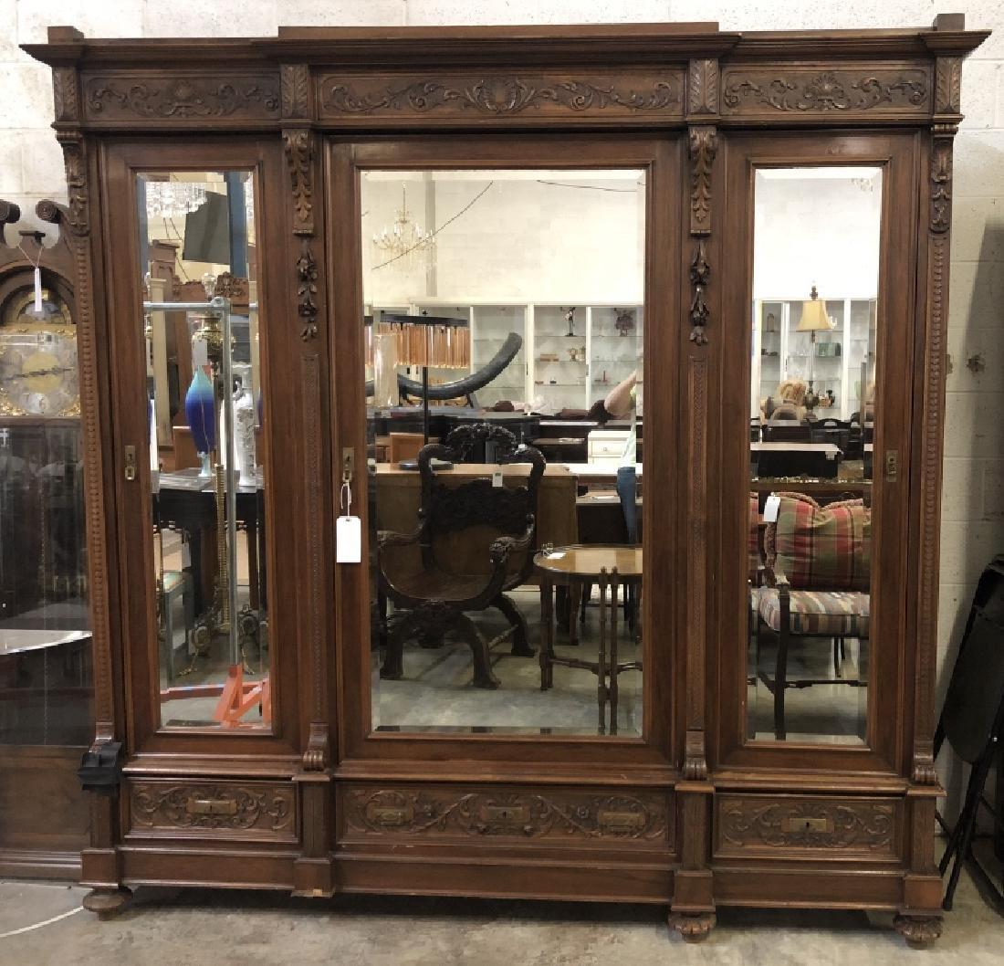 ... Italian Carved Triple Door Armoire, 19th C