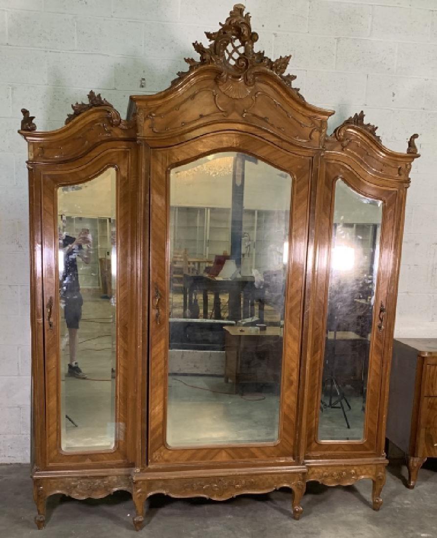 ... Louis XVI Style Triple Door Walnut Armoire