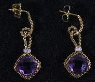 18k YG David Yurman Cushion Cut Amethyst Earrings