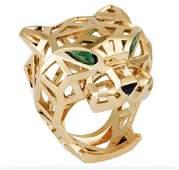 Mens Panther Panthere 18k Gold Ring