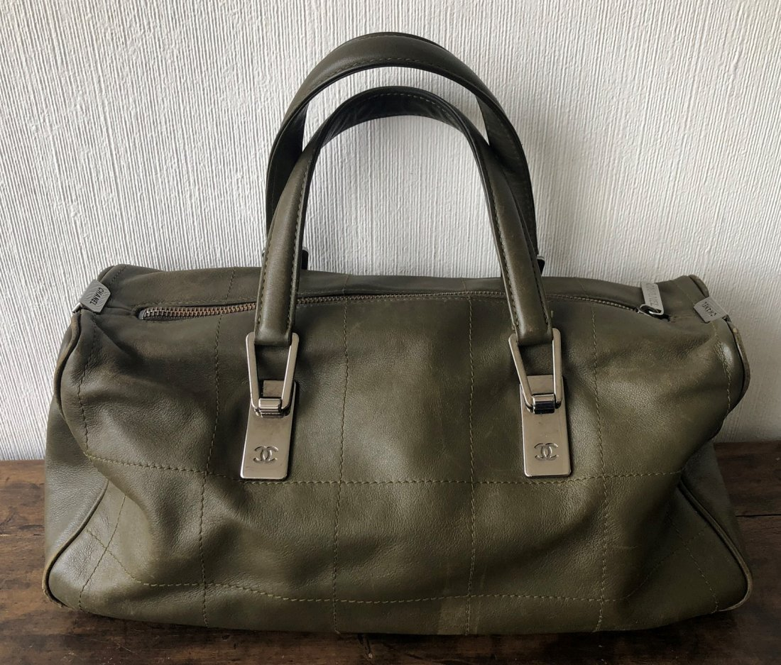 Chanel Olive Green Leather Bag