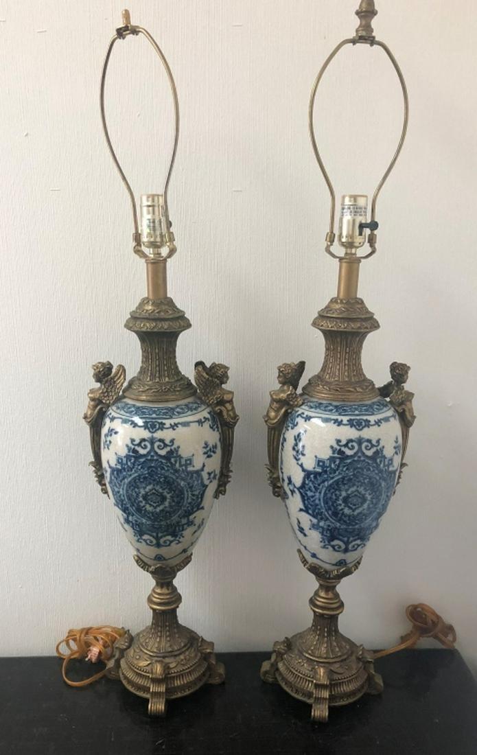 Pair, Blue & White Porcelain Table Lamps