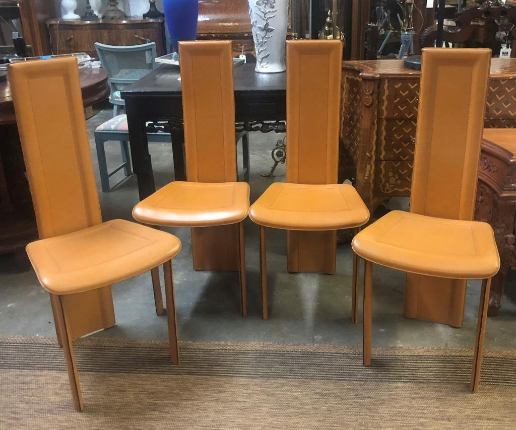 Set of 4 Leather Modern Italian Chairs