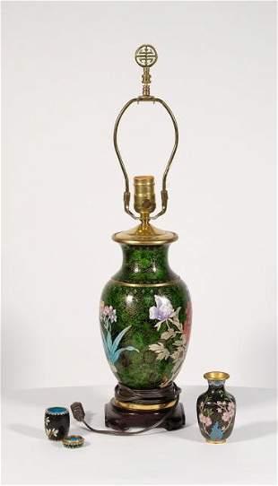 Chinese Cloisonne Lamp w/ Vase & Jar
