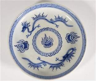 Chinese Blue White Porcelain Dish Chenghua mark