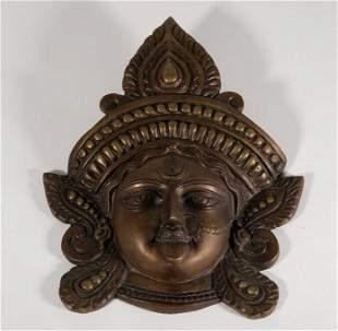 Sino-Tibetan or Nepalese Bronze Mask