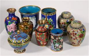 Group, Nine Pieces of Chinese Cloisonne