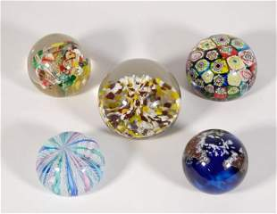 Group, Five Assorted Art Glass Paperweights