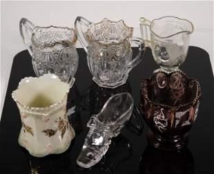 Group, 6 Pcs Early American Pattern Glass