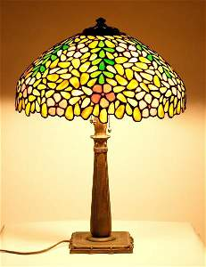 American Stained Leaded Glass Table Lamp