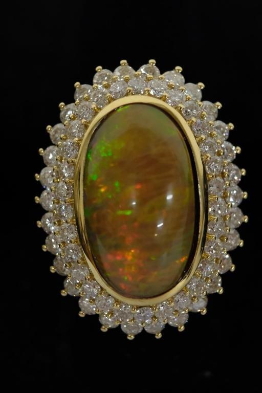 18.55 CT Dark Opal & Diamond Ring Sz 7.5