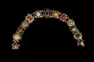 Heavy 44.35g 14k YG Multi Stone Charm Bracelet