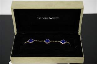Van Cleef & Arpels Alhambra 5 Motif Agate Bracelet