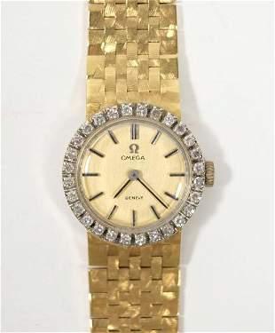 18k YG Ladies Omega w/ Diamonds