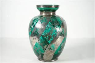 Silver Overlay Emerald Vase