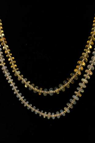Pair, Natural Opal Bead Necklaces