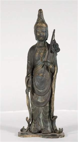 Reliquary Bronze Figure of Guanyin Bodhisattva