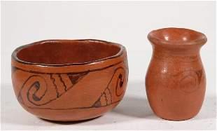 2 Pcs Maricopa Indian Pottery Bowl & Vase/Pot