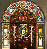Palatial Antique Stained Glass Landing Window